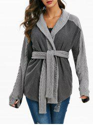 Heathered Belted Cable Knit Trim Coat -