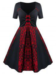 Bowknot Two Tone Lace Panel Fit And Flare Dress -