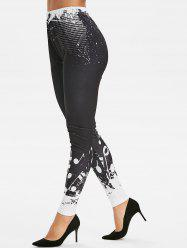 Musical Notes Print Fitted Leggings -