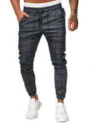 Plaid Print Drawstring Tapered Jogger Pants -