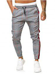 Houndstooth Print Contrast Striped Jogger Pants -