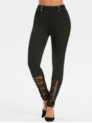 Criss Cross Grommets Fishnet Insert Punk Leggings -