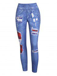High Waist Plaid 3D Destroyed Print Jeggings -