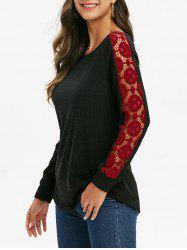 Contrast Lace Ribbed Knitwear -