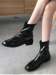 Plain Patent Leather Low Heel Ankle Boots -