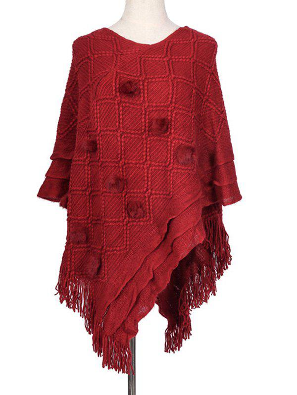 Hot Rhombus Fuzzy Ball Fringe Poncho Cape