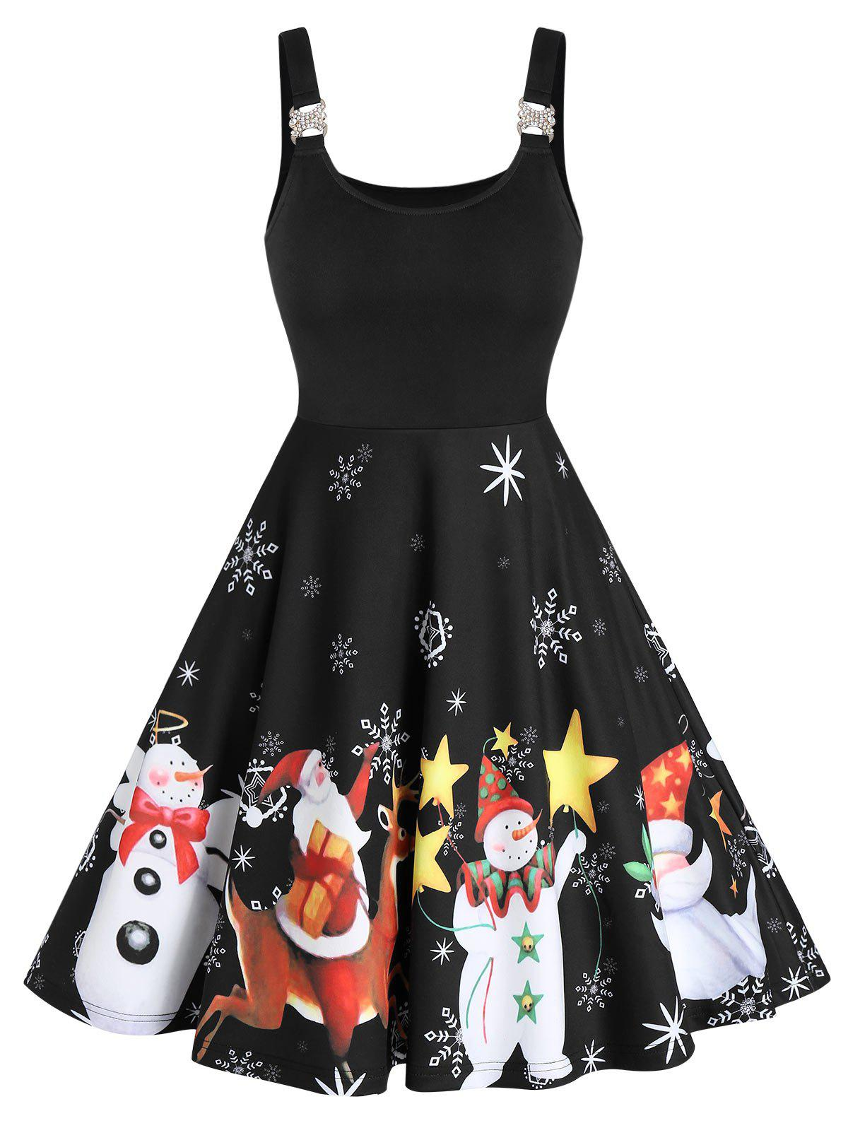Shop Christmas Santa Claus Snowman Print Sleeveless Skater Dress