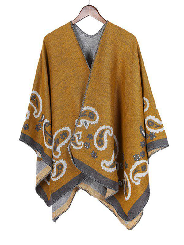 Cheap Ethnic Paisley Open Front Poncho Cape