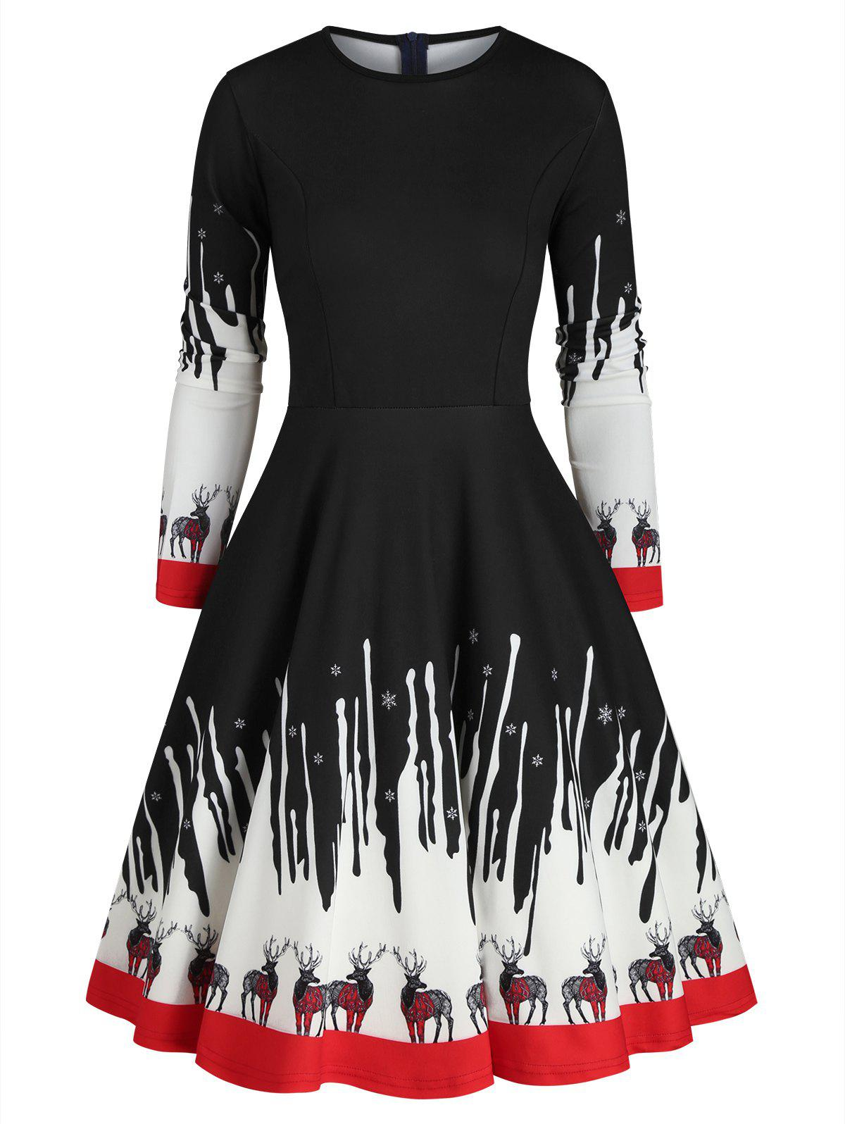 Sale Reindeer Snowflake Christmas Long Sleeves Dress
