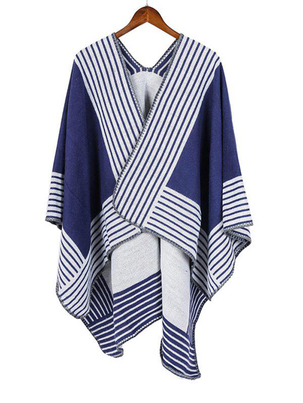 Sale Stripe Pattern Open Front Travel Poncho Cape