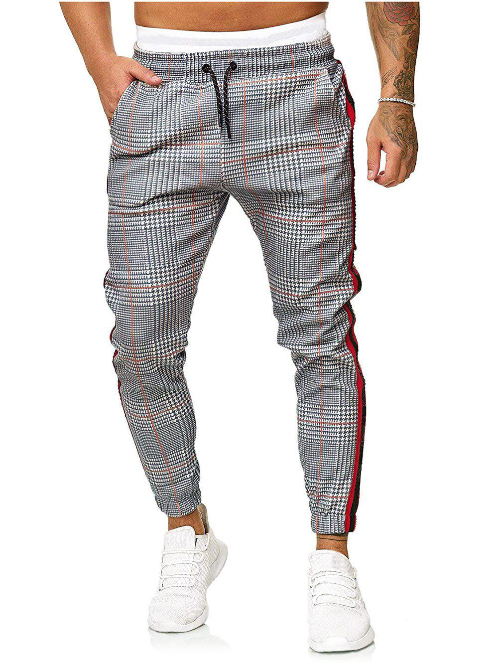 Hot Houndstooth Print Contrast Striped Jogger Pants