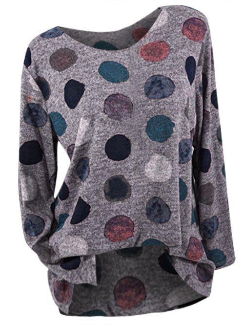 Cheap Plus Size Long Sleeve Dotted T-shirt