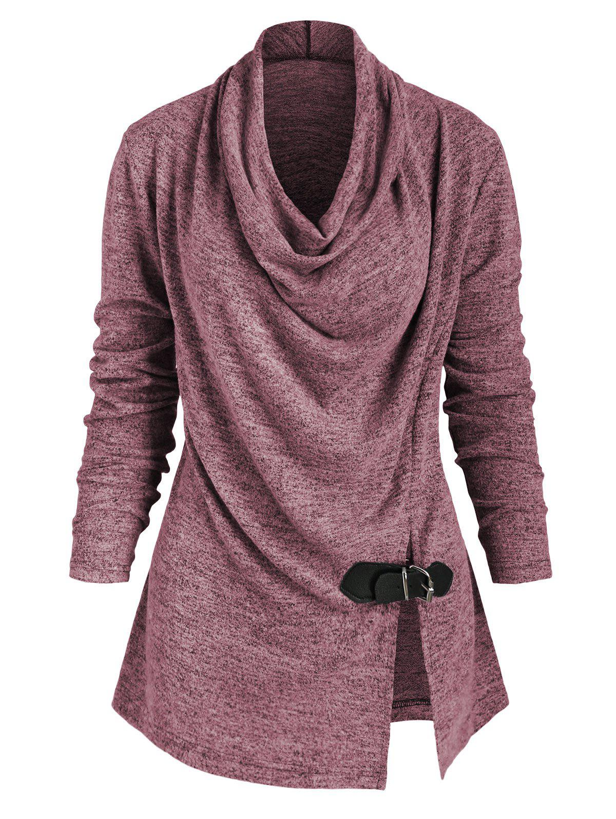 Outfit Heather Slit Buckle Cowl Neck Knitwear