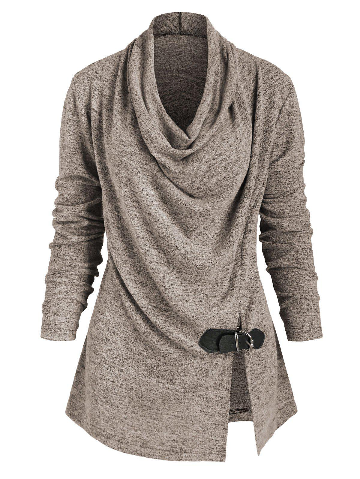 New Heather Slit Buckle Cowl Neck Knitwear