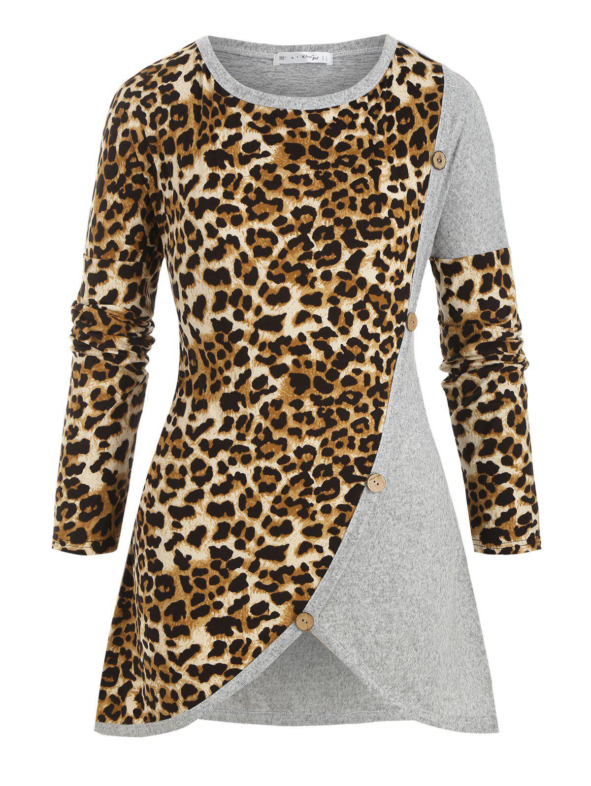 New Crew Neck Buttoned Leopard Panel Plus Size Knitwear