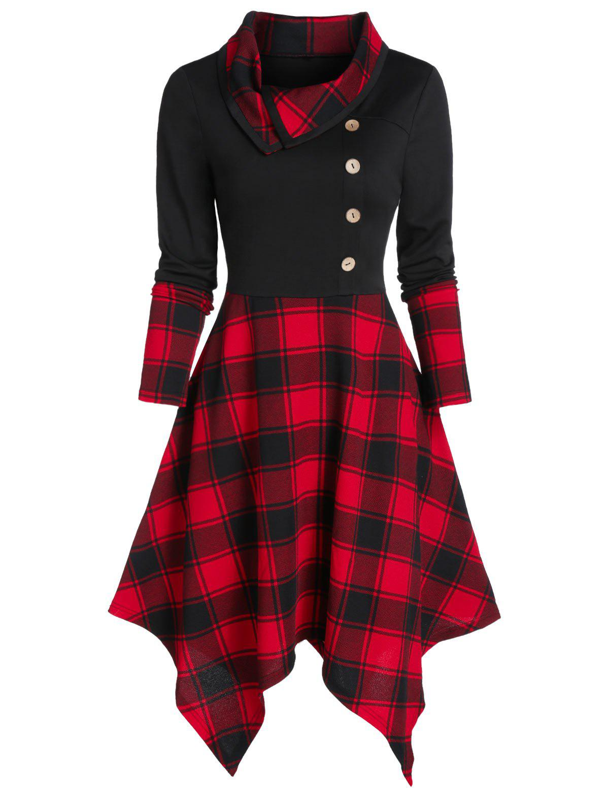 Chic Plaid Print Mock Button Handkerchief Dress