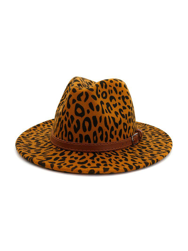 New Winter Leopard Belt Felt Jazz Hat