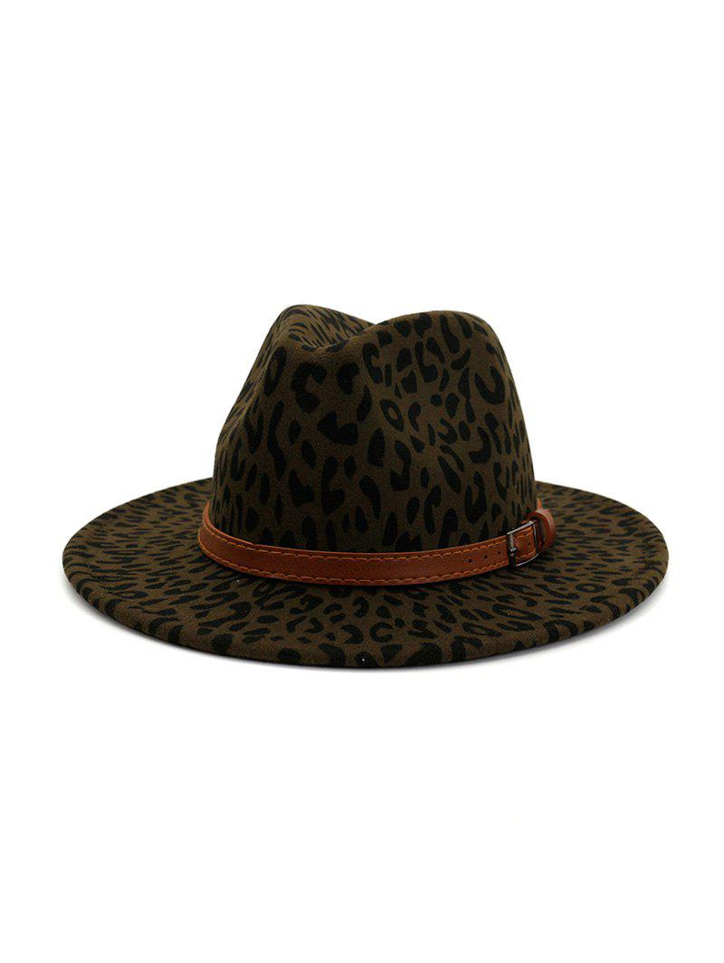 Fancy Winter Leopard Belt Felt Jazz Hat