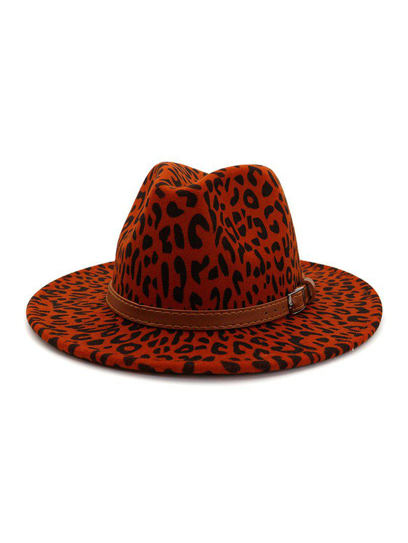 Best Winter Leopard Belt Felt Jazz Hat