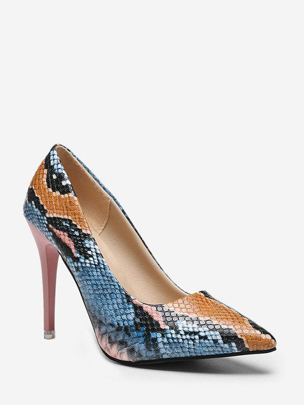 New Stiletto Heel Snake Pattern PU Leather Pumps