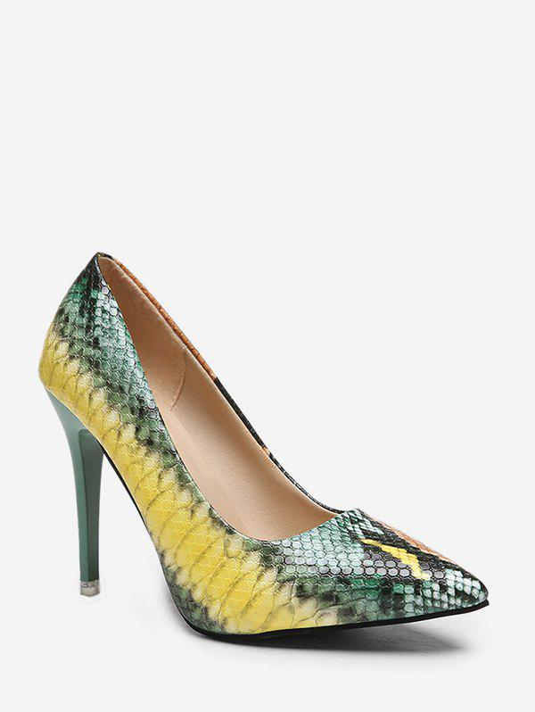 Outfits Stiletto Heel Snake Pattern PU Leather Pumps