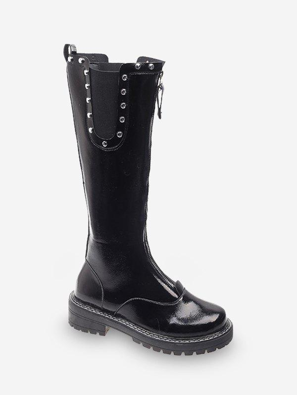 Store Front Zip Stud Trim Chelsea Knee High Boots