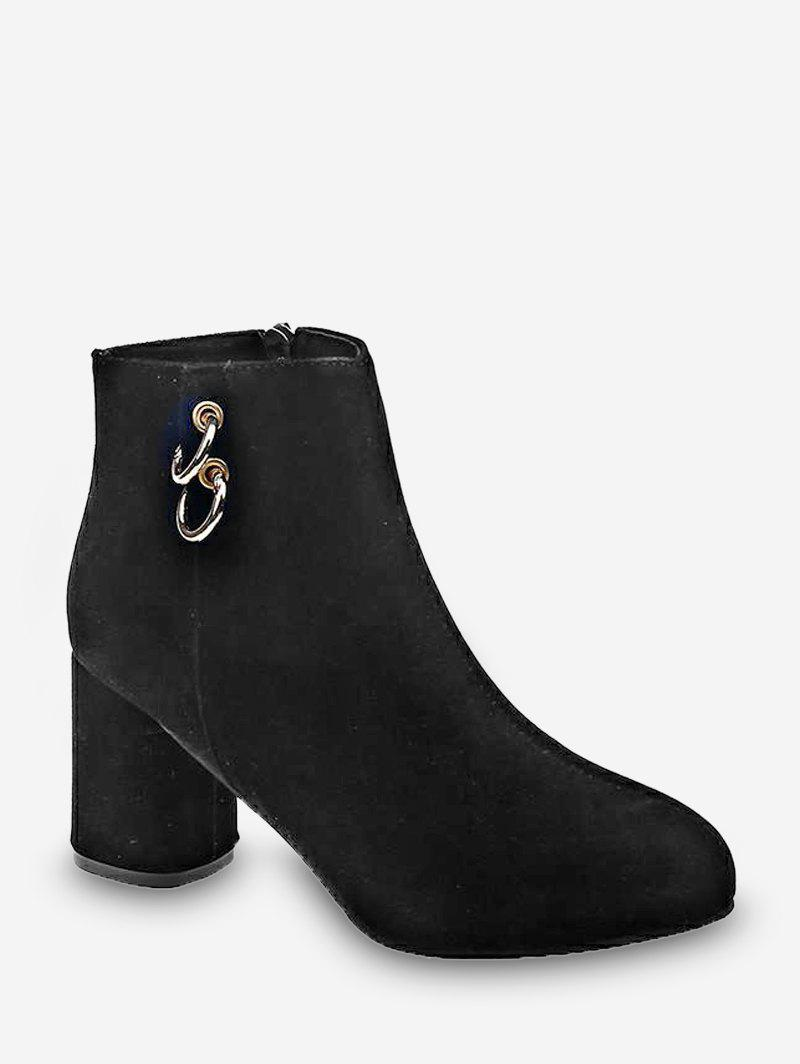 Fancy Dual O-ring Chunky Heel Ankle Boots