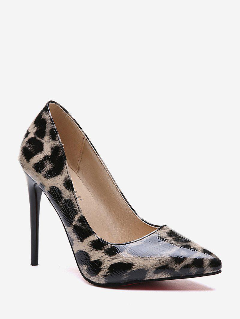 Buy Stiletto Heel Leopard Pattern PU Leather Pumps