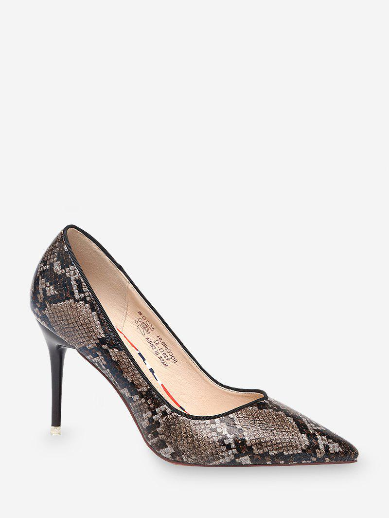 Trendy High Heel Snake Pattern Faux Leather Pumps
