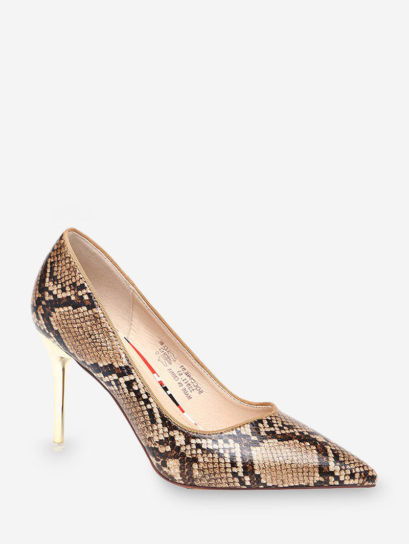 Cheap High Heel Snake Pattern Faux Leather Pumps