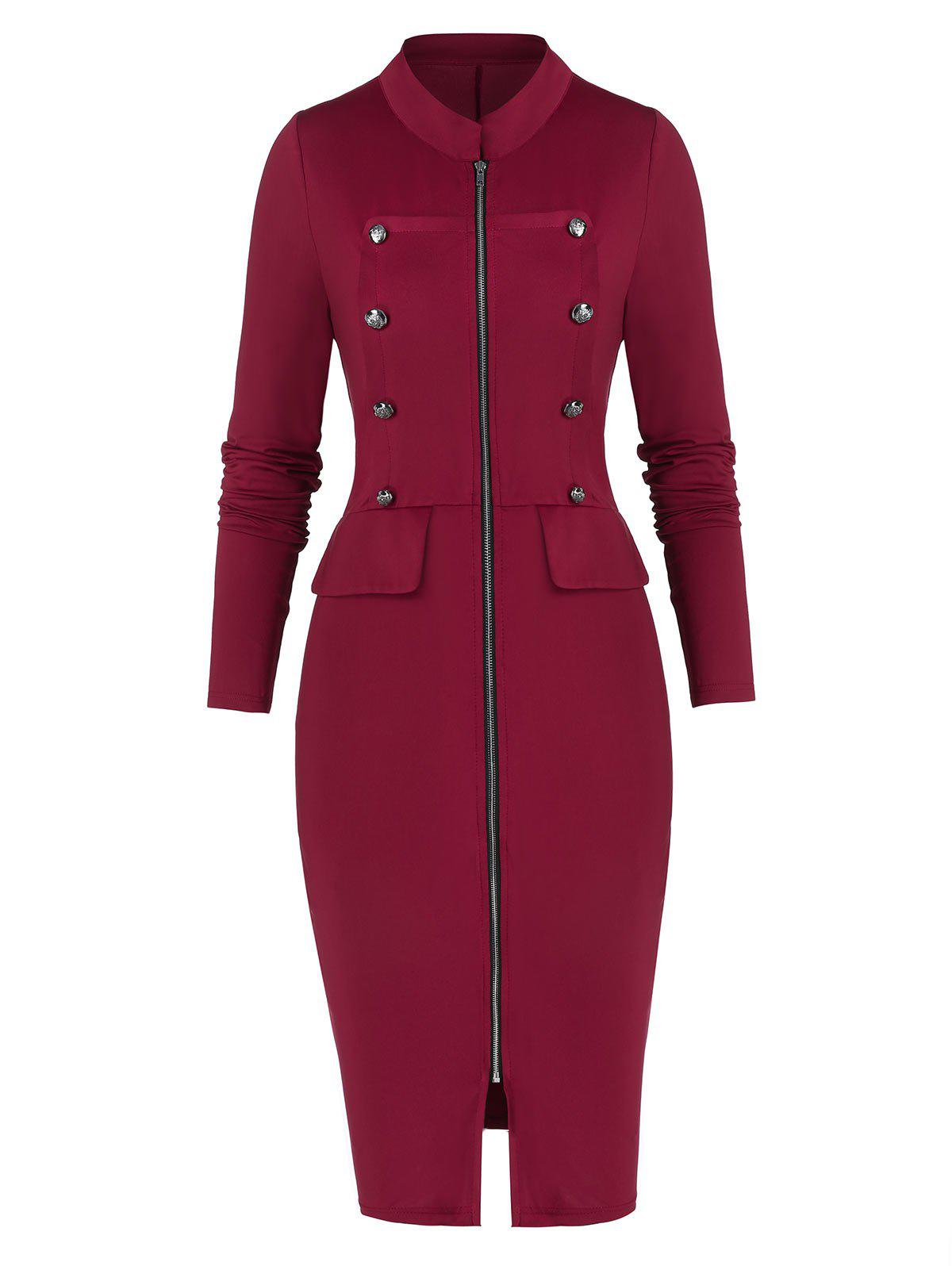 Outfit Full Zip Buttons Bodycon Dress