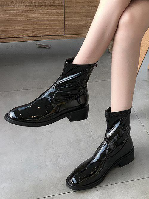 Trendy Plain Patent Leather Low Heel Ankle Boots