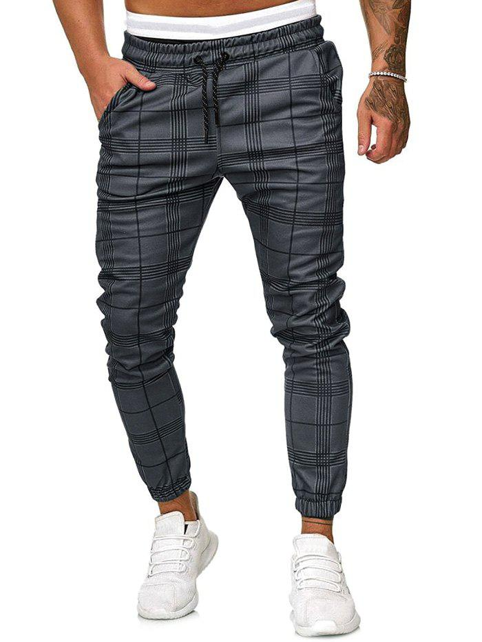 Best Plaid Print Drawstring Tapered Jogger Pants
