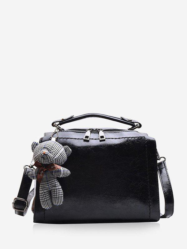 Buy Bear Pendant Leather Crossbody Handbag