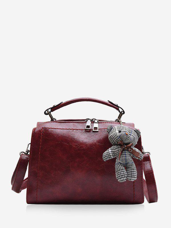 Fashion Bear Pendant Leather Crossbody Handbag