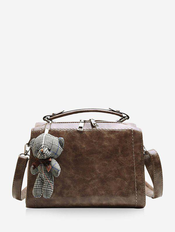 Discount Bear Pendant Leather Crossbody Handbag