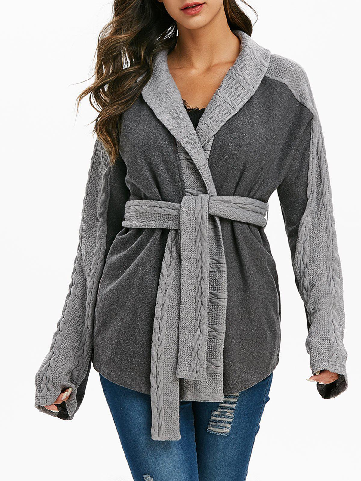 New Heathered Belted Cable Knit Trim Coat