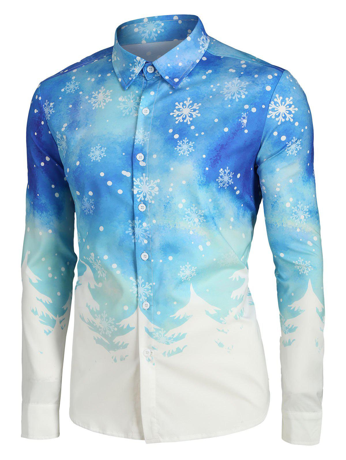 Discount Plus Size Christmas Tree and Snowflake Print Button Up Long Sleeve Shirt