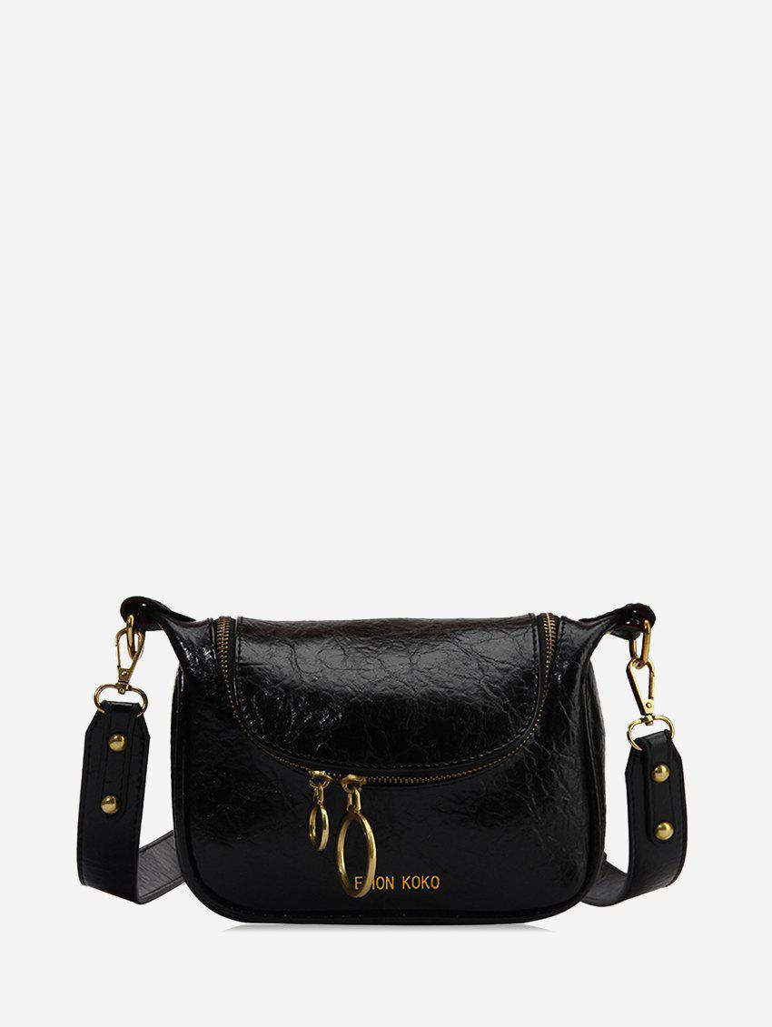 Unique PU Leather Zipper Embellished Shoulder Bag