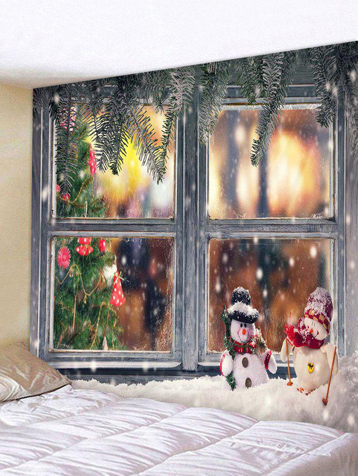 Sale 3d Digital Print Christmas Tree Snow Window Tapestry
