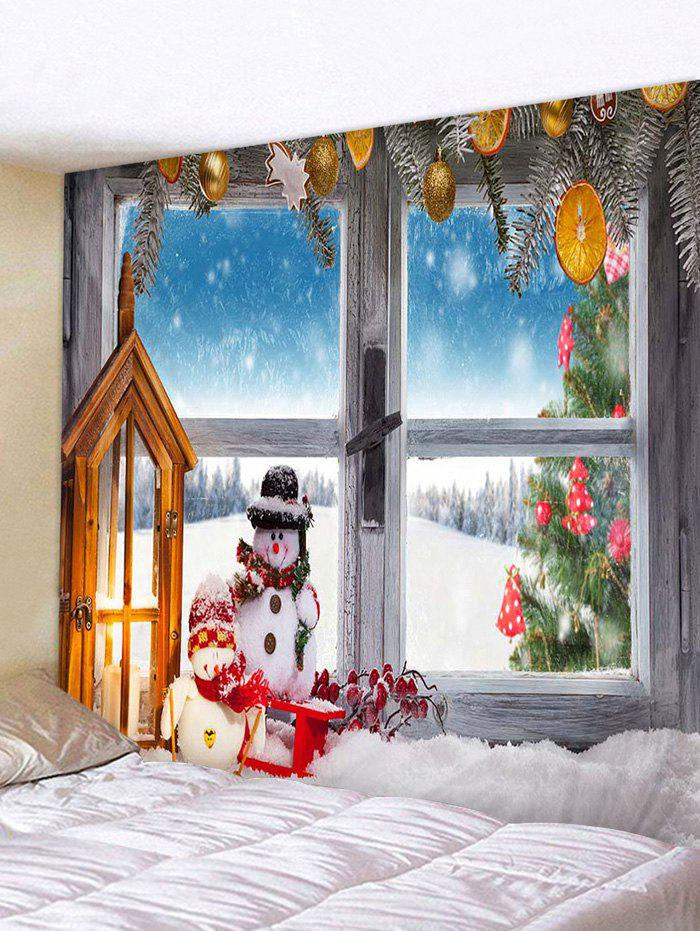 Online Christmas Tree Snowman Window Print Wall Tapestry