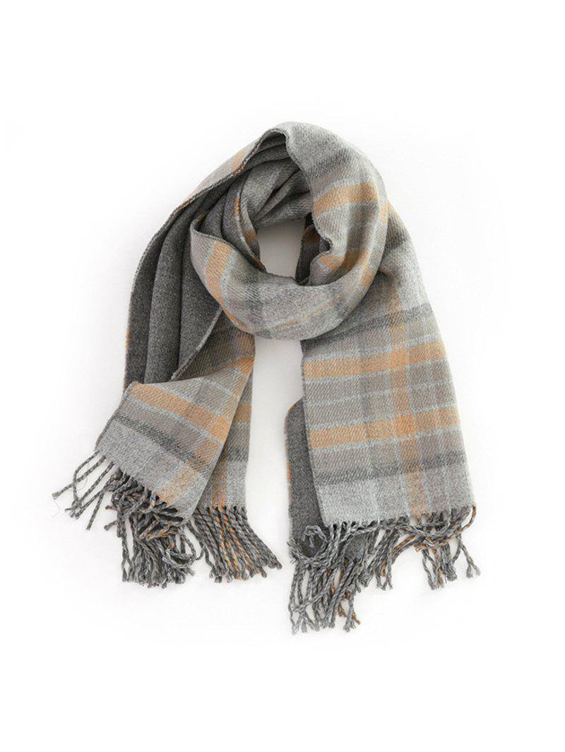Online Plaid Fringe Double-sided Long Scarf