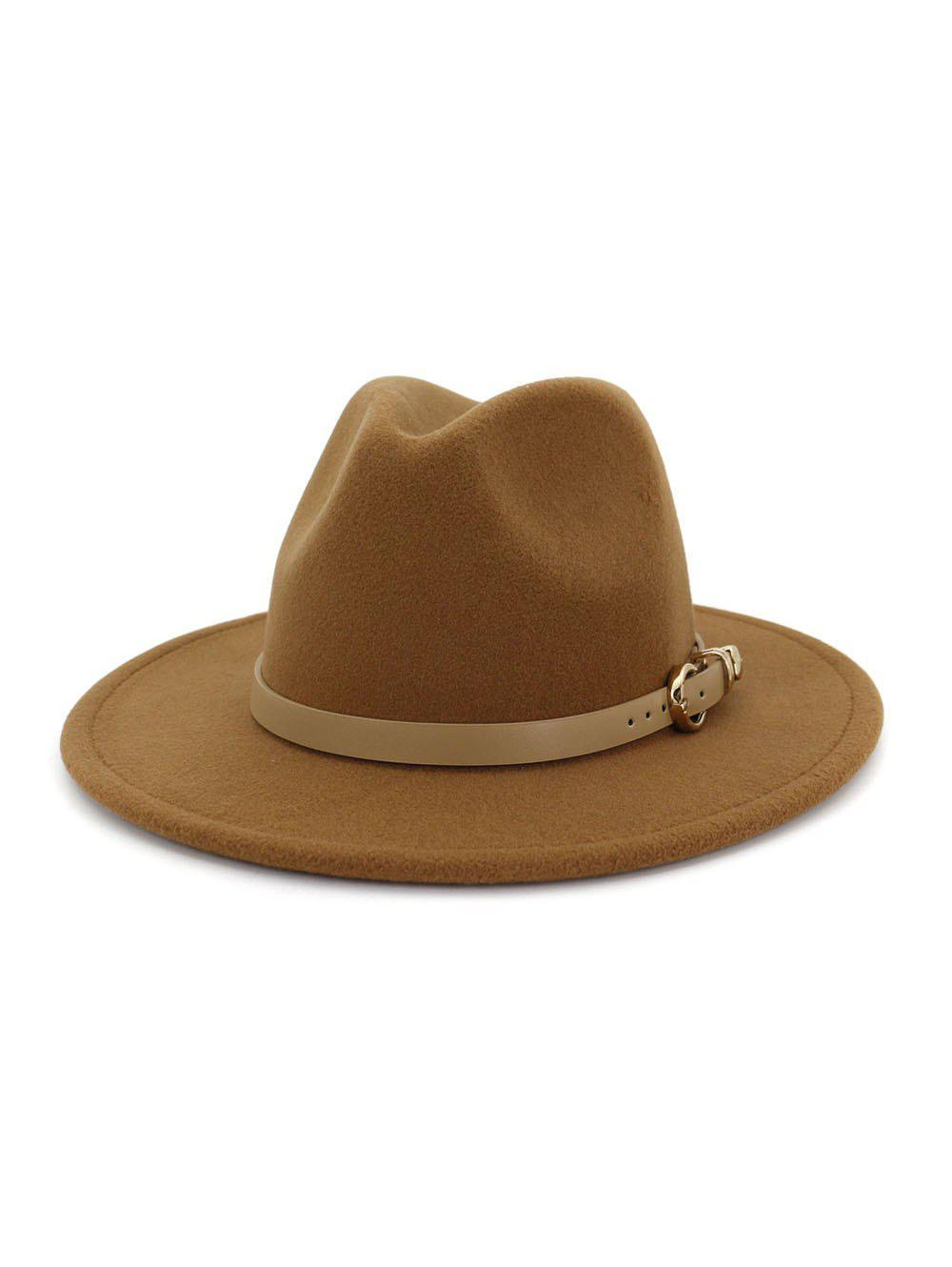 Hot Winter Buckle Belt Flat Brim Jazz Hat