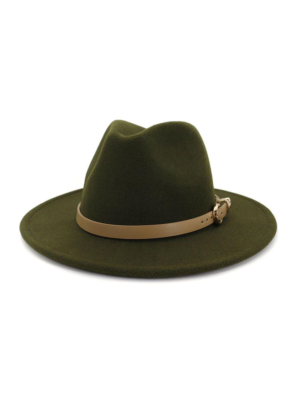 Sale Winter Buckle Belt Flat Brim Jazz Hat