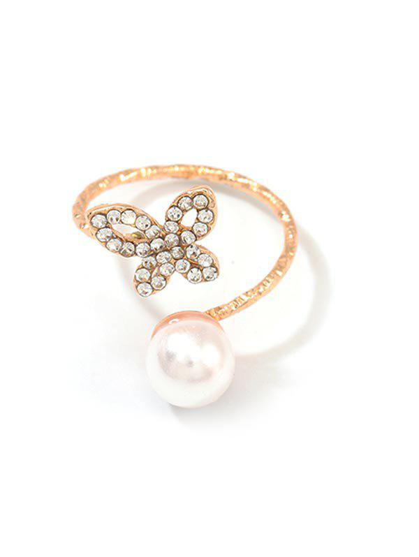 Cheap Hollow Butterfly Rhinestone Faux Pearl Open Ring