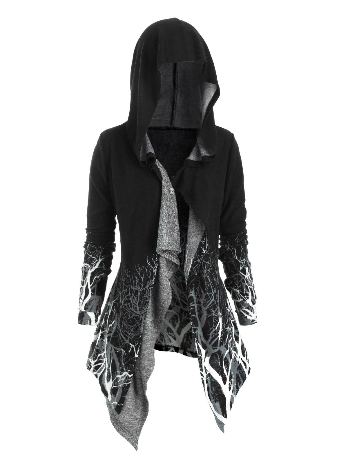 New Tree Print Hooded Longline Cardigan