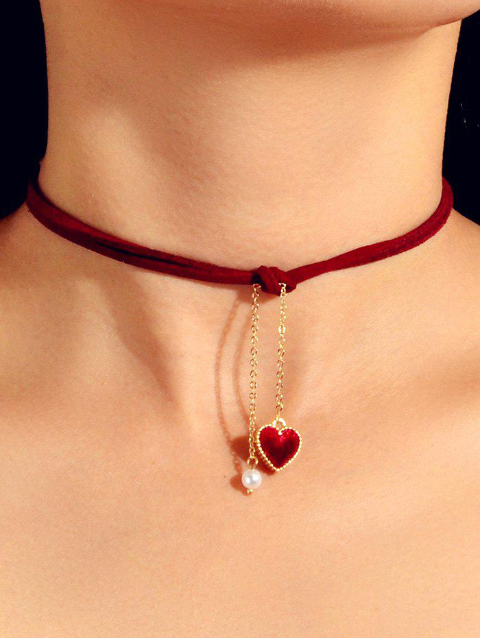 Cheap Heart Faux Pearl Rope Pendant Choker Necklace