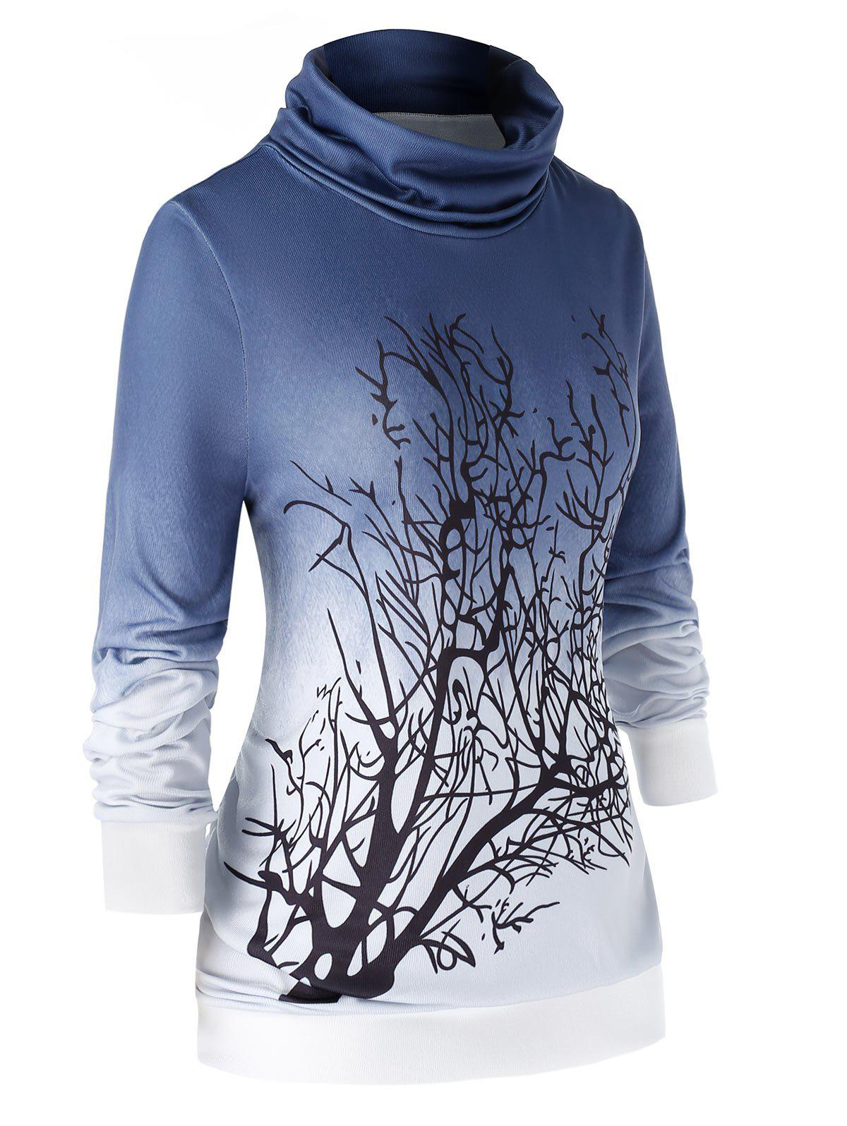 New Plus Size Cowl Neck Tree Ombre Sweatshirt