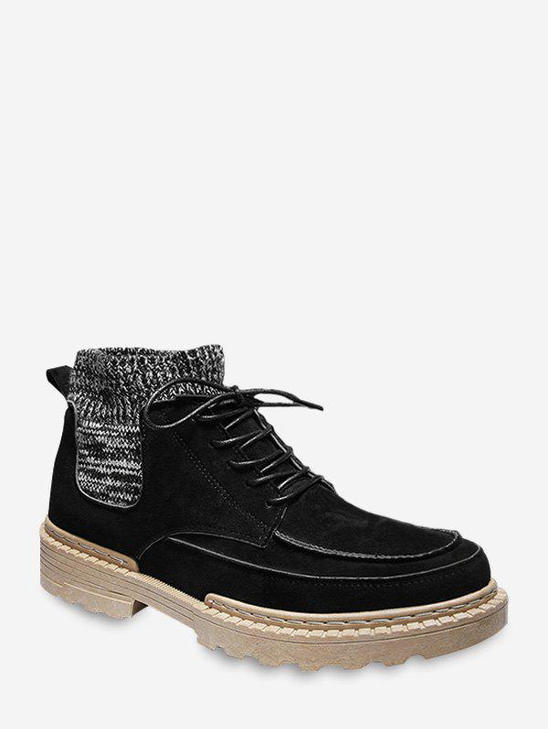 Outfits Faux Suede Patch Sock Cargo Boots