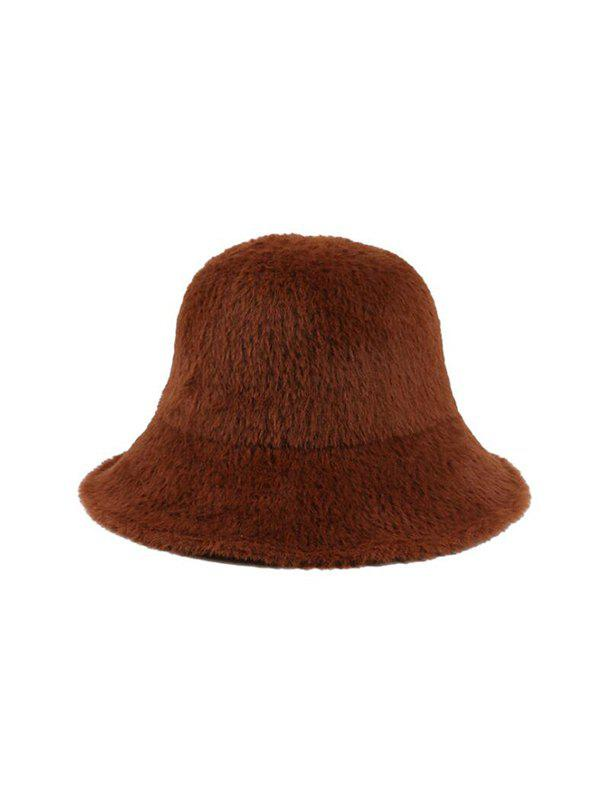 Shop Winter Faux Fur Solid Bucket Hat